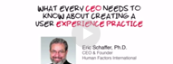 HFI video in which Dr Eric Schaffer lists what every CEO needs to know about UX